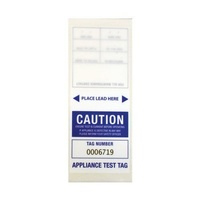 CABAC Individual Appliance Test Tag Labels Blue Pk100 Tear resistant Self laminating APTTBL