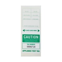 CABAC Individual Appliance Test Tag Labels Green Pk100 Tear resistant Self laminating APTTGR