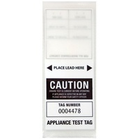 CABAC Individual Appliance Test Tag Labels White Pk100 Tear resistant Self laminating APTTWH