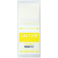 CABAC Individual Appliance Test Tag Labels Yellow Pk100 Tear resistant Self laminating APTTYL