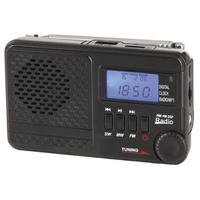 A tri-band compact portable AM/FM/SW radio with built-in MP3 player and digital clock