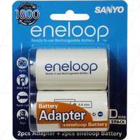SANYO Eneloop D size Adaptors with 2 x AA Rechargeable Batteries