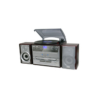 Turntable CD AM FM radio Dual Cassette SD MMC Card Copy to CD Record to Digital Brown