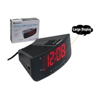LED Large RED Display Alarm with Snooze Clock AM FM Radio