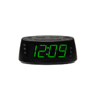 Lenoxx Large 1.8inch Green LED Display Clock Radio with USB charger for Smartphones