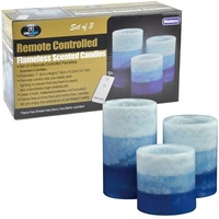 Remote Control Candle Set of 3 Blueberry Scent Candles Plastic With Wax New