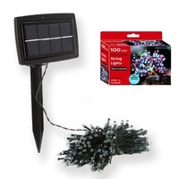 Outdoor Solar powered Bright 100LED Multi Color String light 15m Auto on