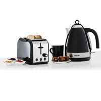 Heller 2 Piece Breakfast Pack with slice toaster &1.7L Codless Kettle -BLACK