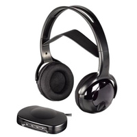 CORDLESS HEADPHONES INFRARED TRANSMITTER BLACK