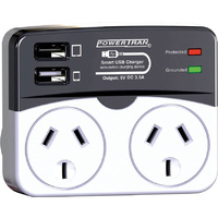 POWERTRAN High Current Dual Mains USB Double Adaptor