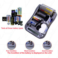Universal All in One LCD Battery Tester for AAA AA C D 9V CR123A CR2 2CR5 Button Cells