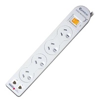 4 Way Surge Protected Powerboard with Phone line