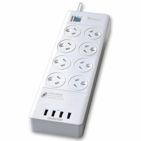 8 Way Surge Protected Power Board with USB White NEW