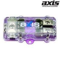 AXIS 2Way AGU Fuse Block 4GA IN 2 x 8GA OUT 1x4GA In / 2x8GA Cable Out Nickel Plated Series