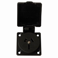 Mains panel socket with spring loaded cover 15A for Caravan RV