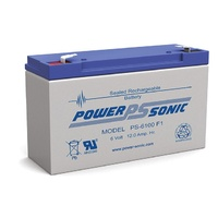 Powersonic PS6100 6V 12AMP SLA Battery F1 Terminal Sealed Lead Acid