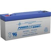Powersonic PS630 6V 3.5AMP SLA Rechargeable Battery F1 Terminal Sealed Lead Acid