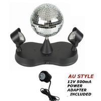 Dual LED Mirror Ball Disco Party Light WITH PSU