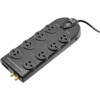 Doss Power Surge Protector Board  8 Power Outlets Black