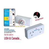 Double Power Point Travel Adaptor with Surge Protection AUSTRALIA to USA