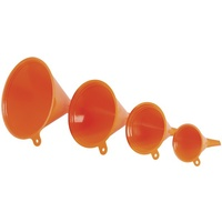 Orange 4 Pack Of Funnels For transferring and decanting all sorts of liquids