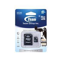 Team Group Memory Card microSDHC 16GB, Class 10, 14MB/s Write*, with SD Adapter, Lifetime Warranty