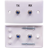 TX RX Twin 'F' Type Wall Plate Twin Satellite BC74727