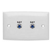 F Socket Double Wall Plate Foxtel Approved  3GHz rating