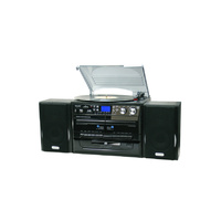 Turntable CD AM FM radio Dual Cassette SD MMC Card Copy to CD Record to Digital Black
