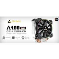 Antec A400 RGB CPU Air Cooler Direct Heat-Pipies Silent RGB 12CM PWM Fan