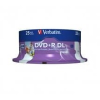 Verbatim DVD and R DL Double Layer 8.5GB Capacity 25Pk White Wide Inkjet 8x