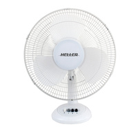 Heller HHDF30S 30cm Desk Fan 3 Speed Air Cooler Cooling Tilt Oscillating White