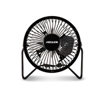10Cm High Velocity Mini Metal Fan Black With Usb