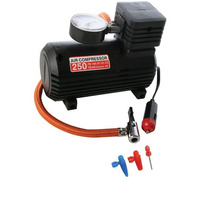 12V Air Compressor 250PSI With Nozzle Adapters And Sports Needle