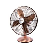 Heller 30cm Desk Floor Oscillating Fan Tilt Air Cooling Cooler Metal Copper