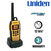 UNIDEN Submersible Waterproof 2.5W VHF Marine Radio that Floats Includes Carabiner Clip
