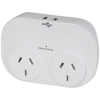 Double Adaptor with 2 x USB ports 2.4A Total