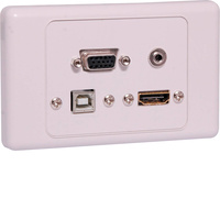 HDMI VGA, 3.5mm, USB type B Wallplate Dual Cover Flyleads