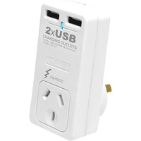 Surge protected Mains Power adaptor with 2 USB charging outlets