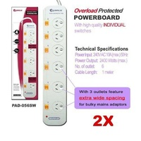 2 X 6 Ways Individually Switched Powerboard BULK PACK