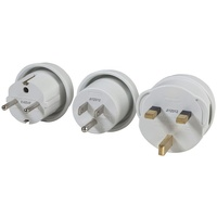 Outbound Mains Travel Adaptor 3 Pack to Suit USA, Europe and UK Outlets