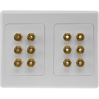 12 TERMINAL SPEAKER WALL PLATE GOLD PLATED 12X BANANA SOCKETS