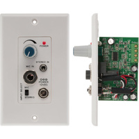 Audio Amplifier Wall Plate with Microphone and Stereo Inputs