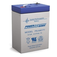 Powersonic PS640 6V 4.5AMP SLA Rechargeable Battery F1 Terminal Sealed Lead Acid
