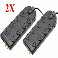 2X Doss Power Surge Protector Board  8 Power Outlets Black