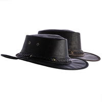 Didgeridoonas The Outback Hat Black water repellent buffalo leather headgear